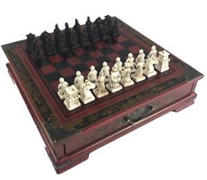 Terrakotta Army Antique Chess Set Board träen Box Carved årgång Retro