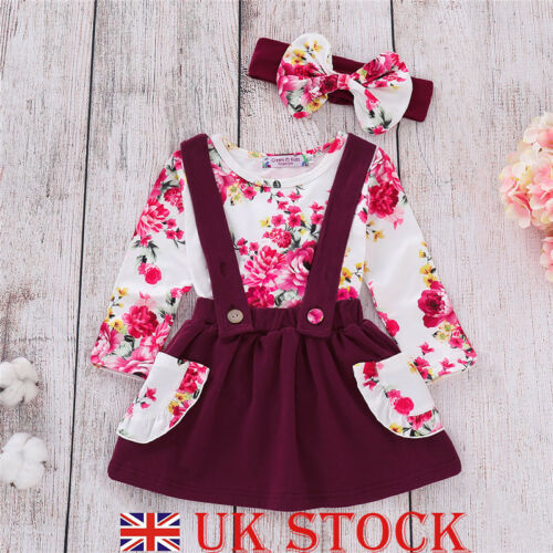 Toddler Kids Baby Girls Outfit Clothes Tops Straped Skirt Party Dress Set Spring