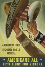 1943 WW2 USA AMERICA MEXICO NAZI AXIS ARMY HAT WAR NAVY FLAG SOLDIER Postcard