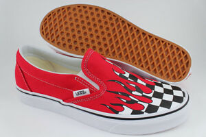 7aa923ee47 VANS CLASSIC SLIP-ON CHECKER FLAME RACING RED BLACK WHITE CHECK US ...