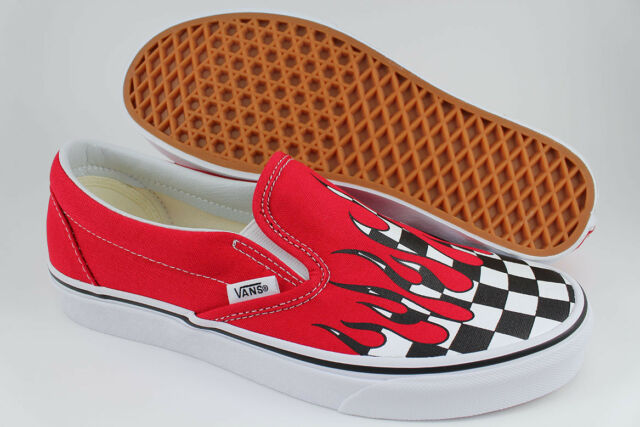 a4b0347ef2b8 VANS CLASSIC SLIP-ON CHECKER FLAME RACING RED BLACK WHITE CHECK US MENS