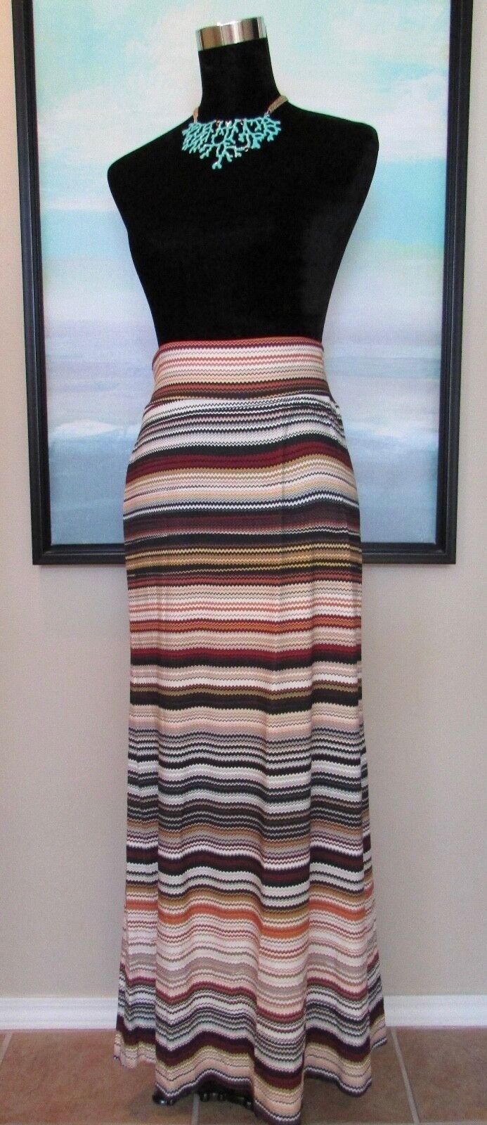 NEW Karen Kane Desert Gypsy Autumnal Chevron Maxi Skirt Sz L