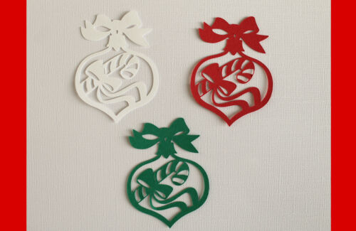 6PC Christmas Bauble Silhouette Paper Die Cuts Ornaments