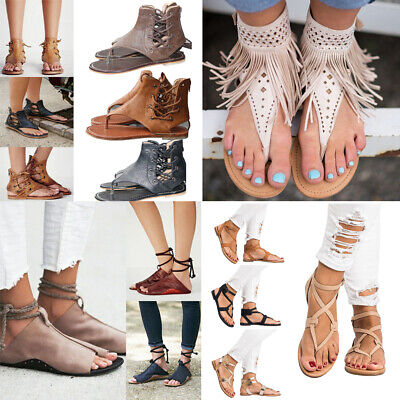 Womens Sandals Flat Ankle Strap Lace Up Clip Toe Thongs Summer Casual Shoes Size