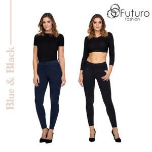 Women High Waisted Push Up Jeggings Stretchy Slimming Leggings Denim Look FS503