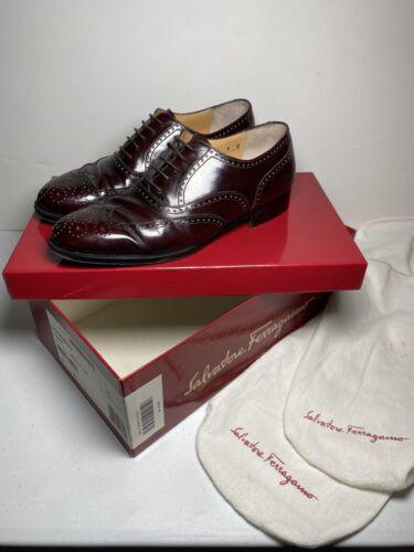 SALVATORE FERRAGAMO Burgundy Wingtips Dress Shoes