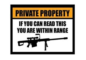Large Fridge Magnet Private Property If You Can Read This You Re In Range Ebay