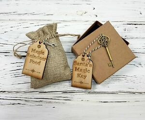 Santa-039-s-Magic-Key-amp-Reindeer-Food-Sack-with-Wooden-Engraved-Tags-Vintage-Style