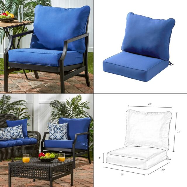 Miraculous Solid Marine 2 Piece Deep Seating Outdoor Lounge Chair Cushion Set Back Blue Pdpeps Interior Chair Design Pdpepsorg