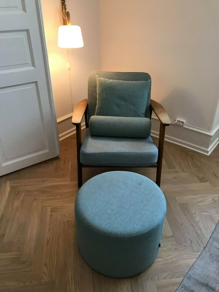 Unik Hans J. Wegner lænestol med puder+puf sælg...