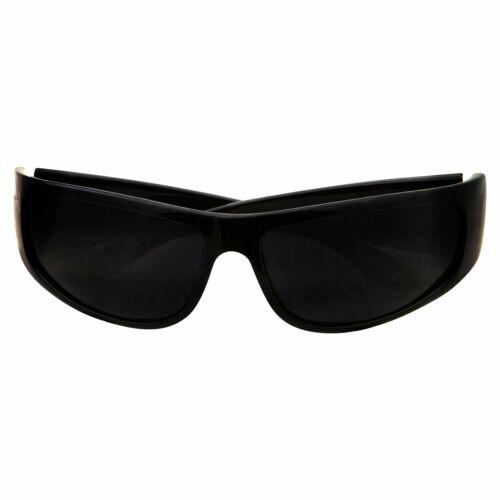 Super Dark Lens Black SunglassesBiker Style RiderWrap Around FrameShiny
