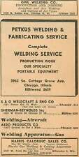 1946 Owl Welding N Kedzie Ave Petkus Fabrication Chicago Harris Calorific Ad