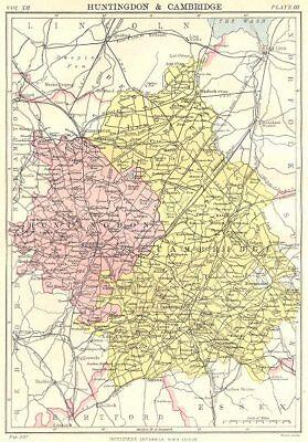 Spirited Cambridgeshire & Huntingdonshire Art Prints Antiques Britannica 9th Edition County Map 1898