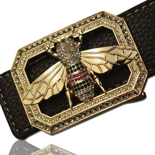 Luxury Brand Belts for Men /&Women Unisex Fashion Shiny Bee Design Buckle High