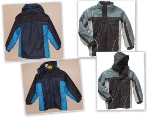 Details about  /Climate Concepts boys Fleece Lined Jacket w//removable hood Black//Grey  Navy//Blue