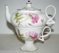 Grace White With Pink Rose & Yellow Flower Fine China Tea,coffee Pot For One