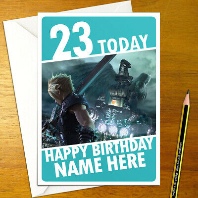 7 ff7 personalized cloud midgar FINAL FANTASY VII Personalised Birthday Card