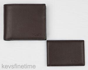 c8acc9536c10 New Coach Men Compact ID Wallet Mahogany Sport Calf Leather Billfold ...