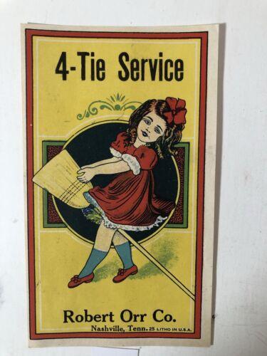 Nashville TN Rare 1930's Girl w// the Broom Lithograph Label