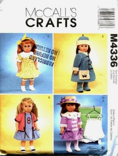 Reduced! McCall/'s 4336 OOP 18-inch DOLL Vintage WARDROBE Pattern