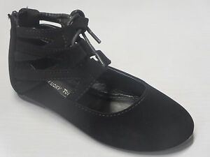 Girls Ankle Lace Up Flats Dress Shoes Black Burgundy Wine RUN SMALL brea22k