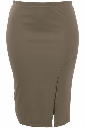 Womens Side Split Maxi Skirt Ladies Casual Pencil Slit Stretch Bodycon Plus Size