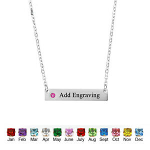 040684d7675d2 Details about Personalized Birthstone Name Bar Necklace Custom Name  Necklace Holiday Gift