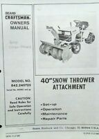 Sears Craftsman​ Lawn Garden Tractor 40 Snow Thrower Owner & Parts Manual 36pg