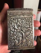 Lovely Chester England Antique Embossed Solid Sterling Silver CARD HOLDER 1900