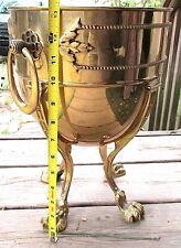 Vintage Ethan Allen Brass Planter Handles Clawfoot Footed Brass Cauldron EC