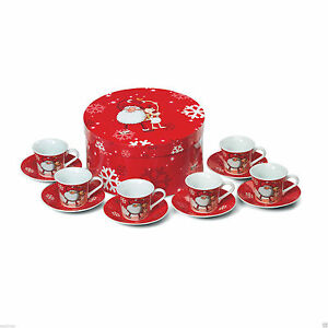 Brand-New-12-piece-Christmas-espresso-coffee-set-6-cups-50cl-6-saucers-gift-box