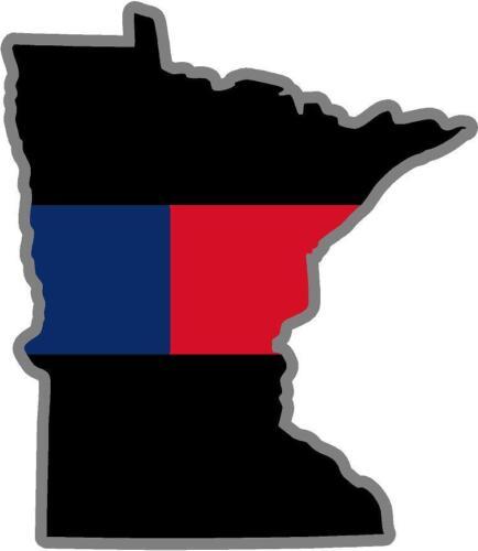 "5/"" Minnesota MN State Blue Red Line Police Firefighter Law Fireman Sticker"