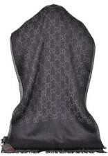 New Gucci Women's 165904 Charcoal Grey Wool Silk GG Guccissima Scarf Muffler