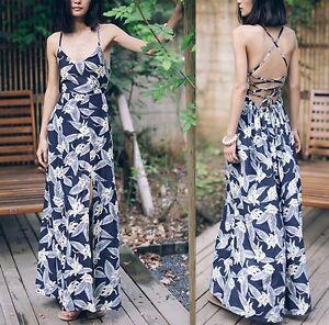 1e1ed852d3cc Vestito Lungo Estate Donna Schiena Scoperta Lacci Woman Maxi Dress ...