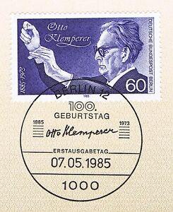 Berlin 1985: Otto Klemperer Nº 739 Avec Propre Ersttags-cachet Spécial! 1a!-rstempel! 1a!fr-fr Afficher Le Titre D'origine
