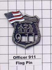 Officer 911/American Flag -  World Trade Center Memorial Pin