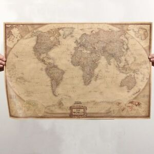 Retro map of the world vintage style world map wall poster home image is loading retro map of the world vintage style world gumiabroncs Choice Image
