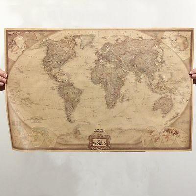 "Retro Map Of The World Vintage Style World Map Wall Poster Home Decor 28"" x 18"""