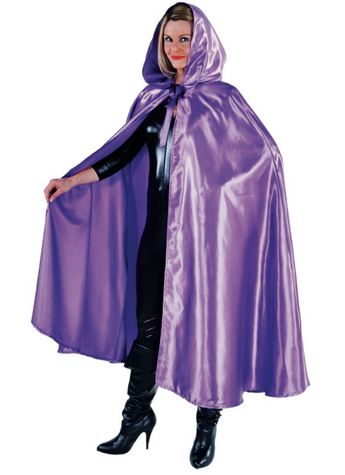 Deluxe PURPLE Satin Hooded Cloak/Cape - GOTHIC / WEDDING ETC