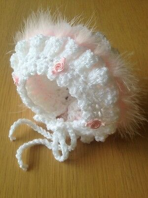 Premature Baby Girl White Crochet Bonnet With Pink Marabou And Pink Rosebuds