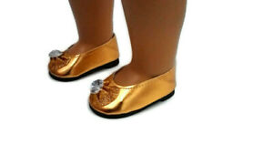 Sparkly Diamond Bow Flats Shoes fits American girl dolls Gold