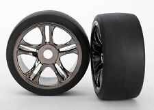 Traxxas Reifen + Felgen hinten Split-Speichen, schwarze Chromfelgen (2) - 6477