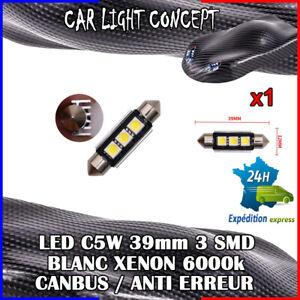 1-x-ampoule-Plafonnier-Feu-39-mm-navette-LED-C5W-BLANC-XENON-6000k-voiture-auto