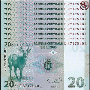CONGO 20 CENTIMES 1997 P 83 UNC LOT 10 PCS
