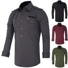 Military New Mens Stylish Slim Fit Formal/Casual Dress Shirts Tops Size S M L XL
