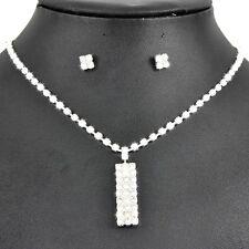 Bridal Jewellery Rhinestones Crystal Set Studs Earrings & Necklace Pendant S279