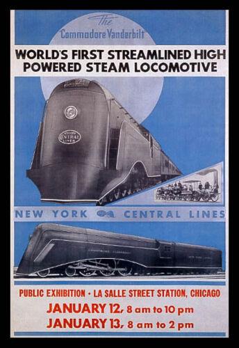 SPEED STREAMLINE HIGH POWERED STEAM LOCOMOTIVE TRAIN VINTAGE POSTER REPRO