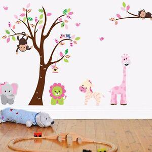 Wandtattoo Kinderzimmer Aufkleber Affe Baum Tiere Zebra Ast Giraffe ...