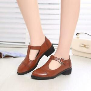 Womens-Mary-Jane-Low-heel-T-strap-Lolita-Buckle-Strap-casual-Shoes-Plus-SZ