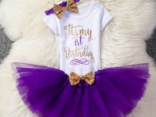 GIRLS CAKE SMASH 1st BIRTHDAY 3 PIECE PURPLE TUTU OUTFIT LONG OR SHORT SLEEVES